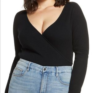 NWT Leith Ribbed Wrap Front Sweater Black Plus